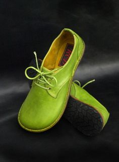 11dedd0c0 A Pair of Lime Green Hand-made Leather Shoes by Ruth Emily Davey .