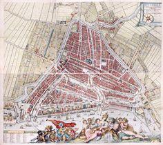 Wandkaart 17e eeuw Rotterdam.