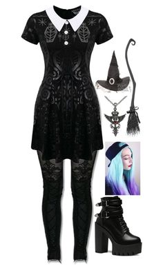 """""""Halloween Costume"""" by mmgio ❤ liked on Polyvore featuring MACBETH, Killstar and Carolina Glamour Collection"""
