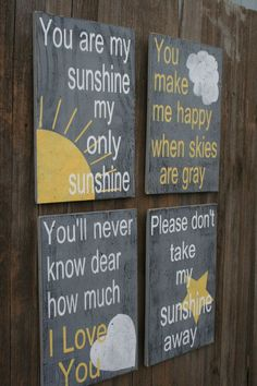 Shabby Chic Nursery Decor Gray and Yellow Nursery Decor You Are My Sunshine Nursery Decor Baby Shower Gift This is a set of 4 wood signs that measure 12 x 18 each. The background is painted gray and wording and design is white and light pale yellow. Yellow Nursery Decor, Chic Nursery, Nursery Wall Decor, Girl Nursery, Gray Decor, Yellow Baby Rooms, Nursery Collage, Baby Nursery Themes, Themed Nursery