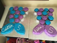 """Mermaid Tail Cupcake Cakes with 8"""" round cake cut for the tail"""