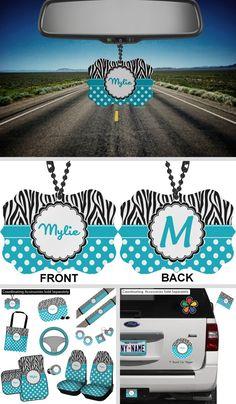 Dots & Zebra Rear View Mirror Charm (Personalized) Rear View Mirror Accessories, Car Accessories, Car Rear View Mirror, Car Mirror, Mirror Ornaments, Black Highlights, Circle Labels, Zebras, Zebra Print