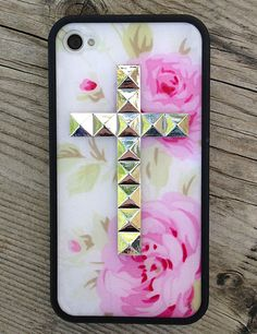 Pink Rose Silver Studded iPhone 4 Wildflower Case