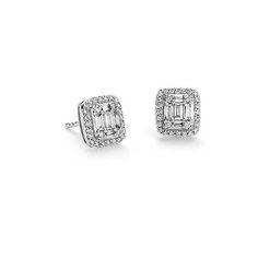 Baguette Diamond Halo Earrings in 18k White Gold #BlueNile #MothersDay #jewelry
