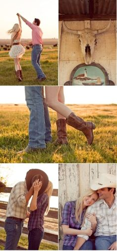 cute country engagement session