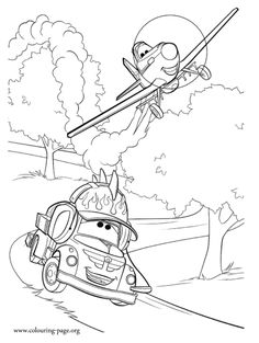 Look! Dusty practices racing every day with his friend Chug. Print out and have fun coloring this amazing picture from the upcoming Planes Disney's film!