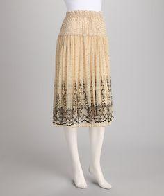 {Beige Ornate Skirt by Jazzy Martini}