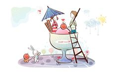 Cute couple in a giant glass with ice cream
