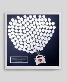 Modern Wedding Guest Book Alternative Balloons Car Silhouette Medium For Up To