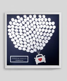 Modern Wedding Guest Book Alternative Balloons Car Silhouette Medium For Up To