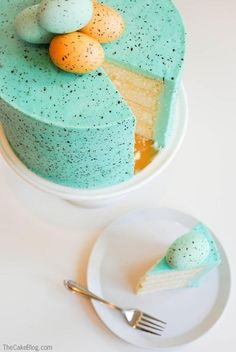 Learn how to make a Speckled Egg Cake, perfect for your Spring and Easter celebrations. Robin's egg blue with chocolate brown speckles and the most darling egg cake topper.