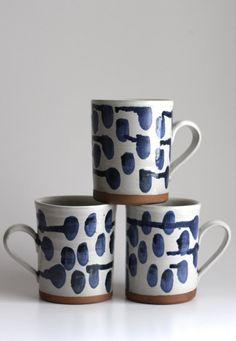 Mug in White with drippy blue polka-dots by melabo on Etsy