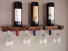 Wood Wall Wine Bottle & Glass Holder - 3 Bottle 4 Glasses Handmade Wall Mount Display by AdliteCreations on Etsy https://www.etsy.com/listing/199470693/wood-wall-wine-bottle-glass-holder-3