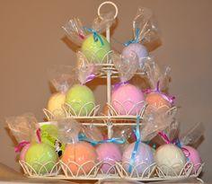 Bath bombs in cupcake holder