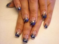 30 Trendy Ideas For Nails Design French Manicure Pictures Hot Nail Designs, French Nail Designs, Simple Nail Designs, Purple French Manicure, Purple Nails, Purple Glitter, Glitter Nails, Fabulous Nails, Gorgeous Nails