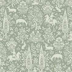 Crown CWV ft Sage Paper Ivy/Vines Unpasted Paste the Paper Wallpaper at Lowe's. With a deep sage hue, this charming woodland wallpaper has an earthy and enchanting style. Deer, horses, and rabbits mingle amongst forest flowers and Tier Wallpaper, Wallpaper Samples, Home Wallpaper, Animal Wallpaper, Wallpaper Roll, Pattern Wallpaper, Bedroom Wallpaper, Wallpaper Decor, Wallpaper Ideas