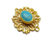Turquoise Connector Pendant- 40mm Matte 24K Gold Plated Bezel Pendant with Turquoise Gemstone, Filigree Frame- GS015
