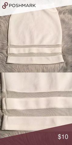 "H&M white skirt Perfect white skirt with mesh stripes at the bottom. Skirt is 19"" long H&M Skirts Mini"