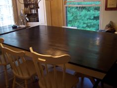 84x52  Ebony stained farmhouse dining table~seats 8-10 dbl pedestal base in ivory