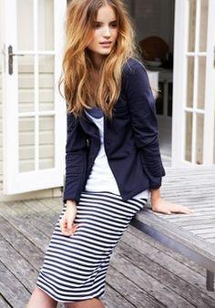 Striped skirt, white T-shirt, Navy blazer,