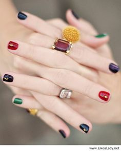 Bejeweled nails and jewel tones manicure 6