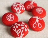 Fabric Covered Buttons - Hungarian Blue Dying Flowers Unexpected In Red - 6 Small Fabric Buttons