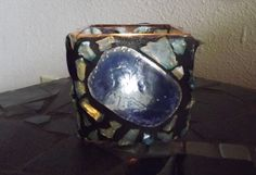 Mosaic Blue Candle Container/ Candle Vase/ by PiecesofhomeMosaics, $22.00