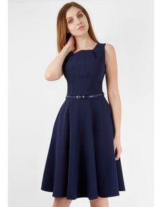 Navy Square Neck Midi Belted Dress