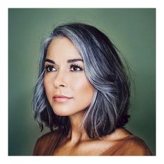 Image may contain: one or more people and closeup Grey Hair Dye, Short Grey Hair, Short Hair Styles, Dyed Hair, White Hair, Grey Hair Journey, Silver Hair Highlights, Grey Hair Transformation, Red Scene Hair