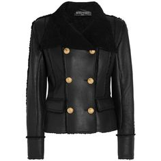 BalmainDouble-breasted Shearling Biker Jacket ($5,060) ❤ liked on Polyvore featuring outerwear, jackets, balmain jacket, shearling jacket, military motorcycle jacket, military style jacket and slim fit jacket