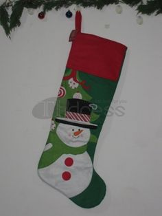 Christmas socks ( green bottom red edge snowman graphics )
