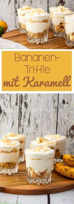 C B with Andrea - Bananen-Triffle mit Karamell Rezept - - Collage Bbq Desserts, Dessert Drinks, Dessert Simple, Trifle, Avocado Dessert, Coconut Whipped Cream, Caramel Recipes, Banana, Eat Dessert First