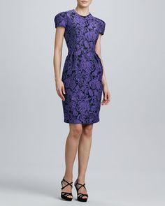 Jewel-Neck Cap-Sleeve Jacquard Dress  by Carmen Marc Valvo at Neiman Marcus.