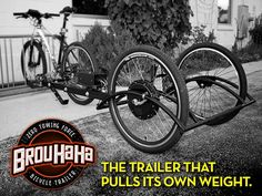 Brouhaha Bicycle Trailer by Brian Bartel — Kickstarter.  The patented Brouhaha Bicycle Trailer, is an electric-assist trailer that can be loaded up without adding any effort to the cyclist.