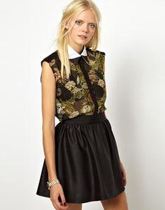 Image 1 ofOstwald Helgason Sleeveless Silk Shirt with Collar