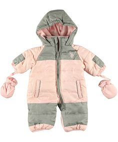 """Whether she's making snow angels or building snow forts, this U.S. Polo Assn. snowsuit is perfect for your active little one. The colorful, weather-resistant exterior features handwarmer pockets, elastic cuffs, logo embroidery, and a zipper chin guard.  U.S. Polo Assn. """"Skye"""" Snowsuit with Gloves (Sizes 0M – 9M) - CookiesKids.com"""