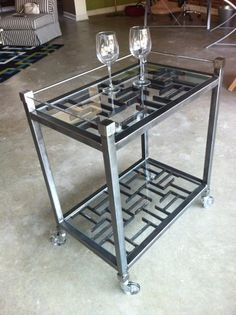 modern hand crafted reclaimed metal steel bar cart table