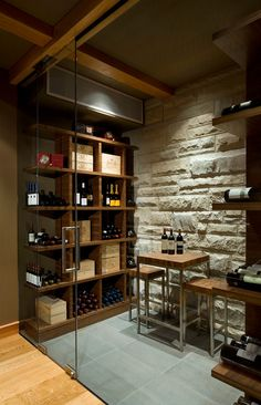 Glass Door. Glass Wall. Wine, Heavy Timber, Concrete Wall,  - Contemporary Wine Cellar By Openspace Architecture