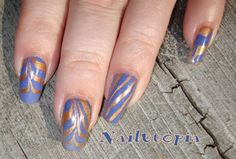 Blue and gold water marbling