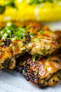 Easy Summer Meals, Summer Recipes, Grilling Recipes, Cooking Recipes, Healthy Recipes, Chimichurri Chicken, Grilled Chicken Thighs Boneless, Chicken Breasts, Mexican Food Recipes