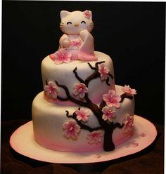 Hello kitty cherry blossom cake