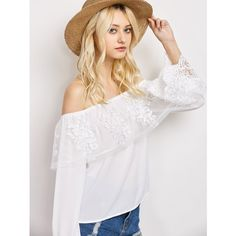 Lace Chiffon Off The Shoulder Top ($19) ❤ liked on Polyvore featuring tops, blouses, off the shoulder blouse, lace chiffon blouse, off the shoulder chiffon top, off shoulder lace top and chiffon tops