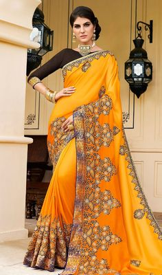Orange Fancy Readymade Art Silk Cold Shoulder Blouse Saree Thread Embroidery Bridal Bridesmaid Wear Sari Top Women Clothing FREE SHIPPING