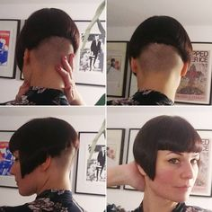 Bob Haircut With Bangs, Short Bob Haircuts, Girl Haircuts, Undercut Hairstyles Women, Pixie Hairstyles, Cool Hairstyles, Shaved Hairstyles, Shaved Bob, Shaved Nape