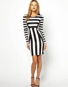 Brave Soul Stripe Bodycon Dress White Black Size:M at ASOS RRP £35.00