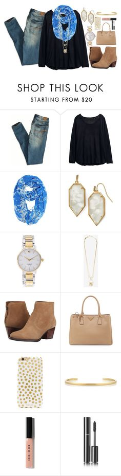 """""""Borrrreeeeddddddd"""" by classically-kendall ❤ liked on Polyvore featuring American Eagle Outfitters, H&M, Kendra Scott, Kate Spade, Alexis Bittar, Nine West, Prada, BaubleBar, Jennifer Fisher and Bobbi Brown Cosmetics"""
