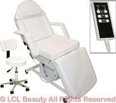 White Electric Massage Facial Table Bed Chair Barber Beauty Spa Salon Equipment #LCLBeauty