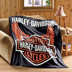 Harley Davidson Fleece Throw Blanket from Collections Etc.