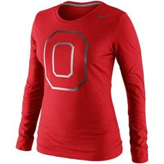 Nike Ohio State Buckeyes Ladies Seasonal Logo Tri-Blend Long Sleeve T-Shirt - Scarlet