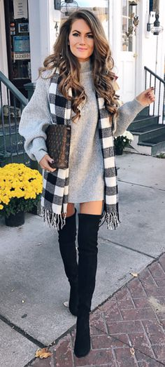 #winter #outfits  white and black checkered scarf ; black thigh high boots